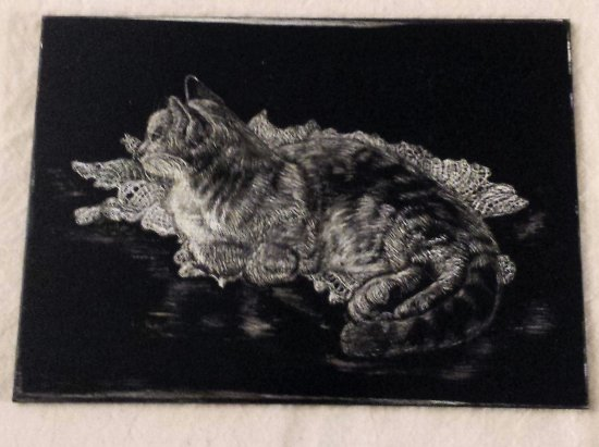 cat original  black and white engraved