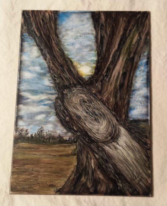 tree, landscape,  5 x 7 inches, clayboard