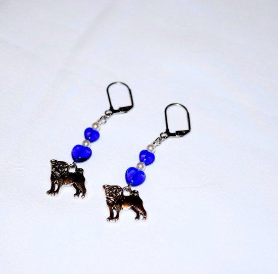 Handmade blue dog earrings, dog charm, blue glass hearts, seed beads