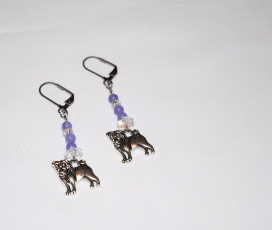 Handmade purple dog earrings, dog charm, purple hai jade, crystal flower rondelle and seed beads