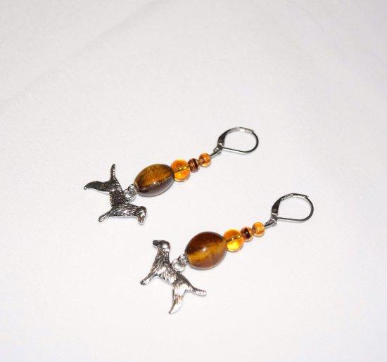 Handmade dog earrings, gold & brown ceramic barrel, tortoise and amber colored glass beads, dog charm