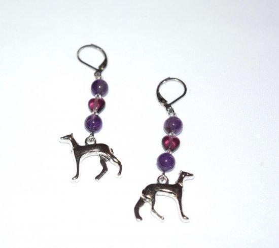 Handmade purple dog earrings, dog charm, amethyst round beads, purpe glass heart, seed beads