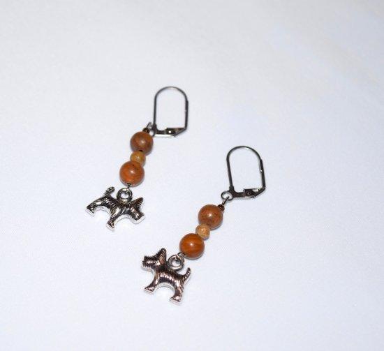 Handmade dog earrings, brown landscape jasper beads and dog charm