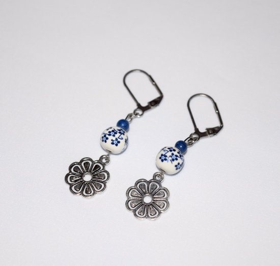Handmade flower earrings, painted porcelain bead, blue resin bead and flower charm