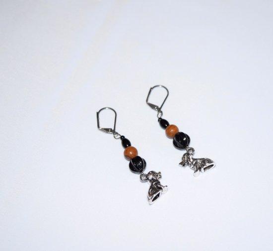 Handmade dog earrings, black glass and brown jasper beads, dog charm
