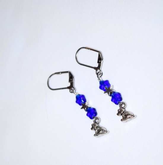 Handmade blue dog earrings, blue glass and antiqued silver stars, dog charm