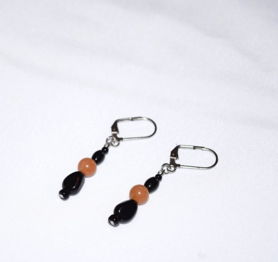 Handmade black earrings, black glass and onyx, and orange aventurine beads