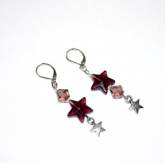 Handmade purple earrings, purple crystal and star, silver star charm