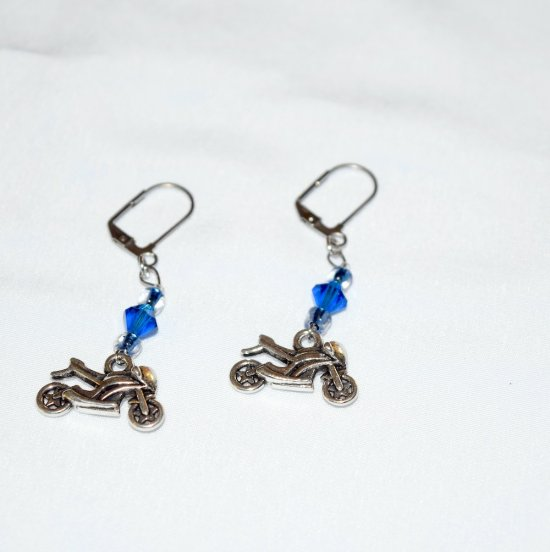 Handmade blue motorcycle earrings, capri blue crystal, E beads and motorcycle charm