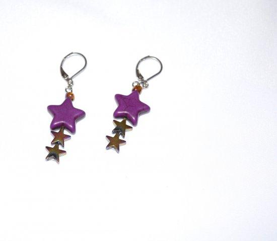 Handmade purple star earrings, purple howlite star, metallic  star beads