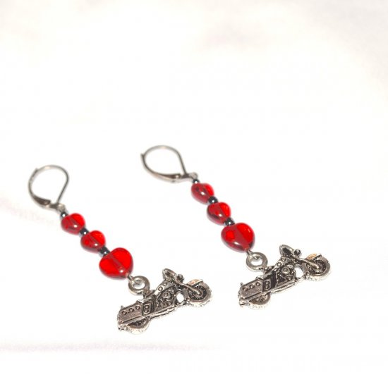 Handmade motorcycle earrings, red glass hearts, black luster seed beads, motorcycle charm
