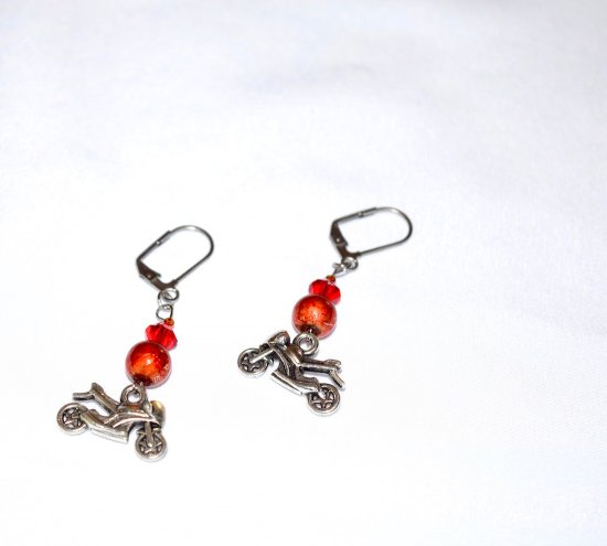 Handmade motorcycle earrings, red Swarovski crystal, orange & red glass bead, motorcycle charm