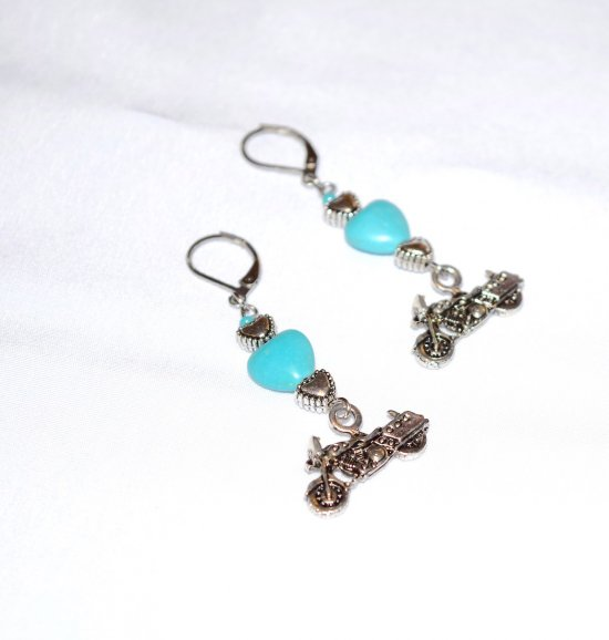 Handmade motorcycle earrings, turquoise resin heart, antiqued silver hearts, motorcycle charm, seed bead