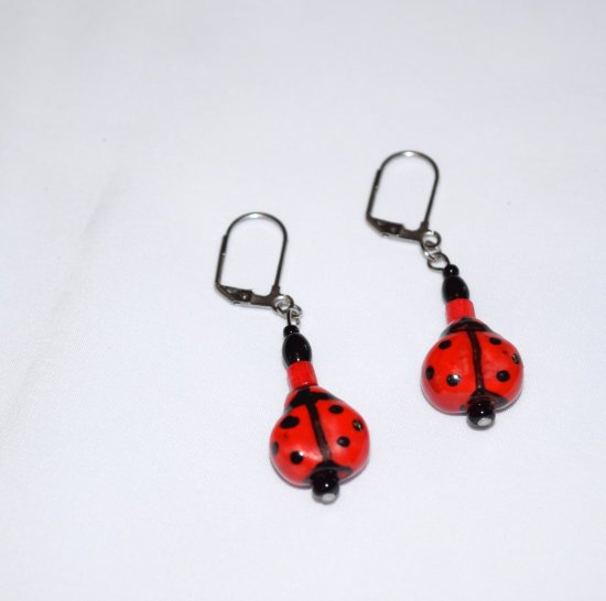 Handmade red ladybug earrings, ceramic lady bug beads, vinatge red wood and black glass beads