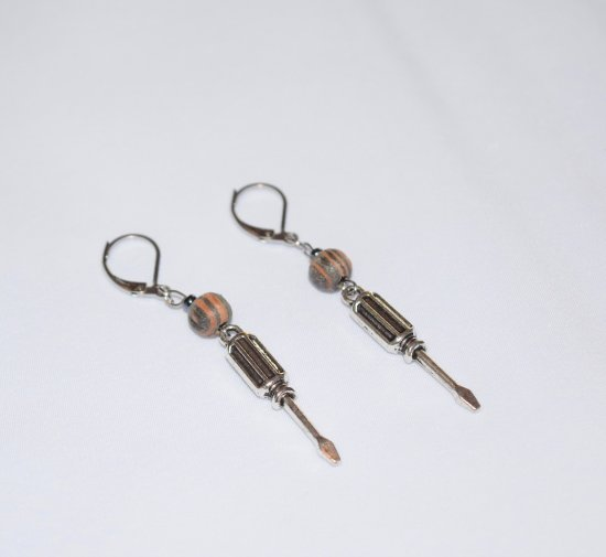 Handmade screwdriver earrings, grey and brown wood bead, black luster bead, screwdriver charm