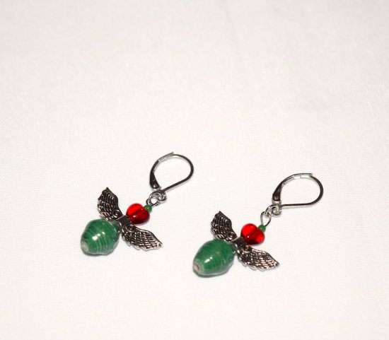 Handmade Christmas angel earrings, green paper bead, red glass heart, angel wings charm, green seed bead