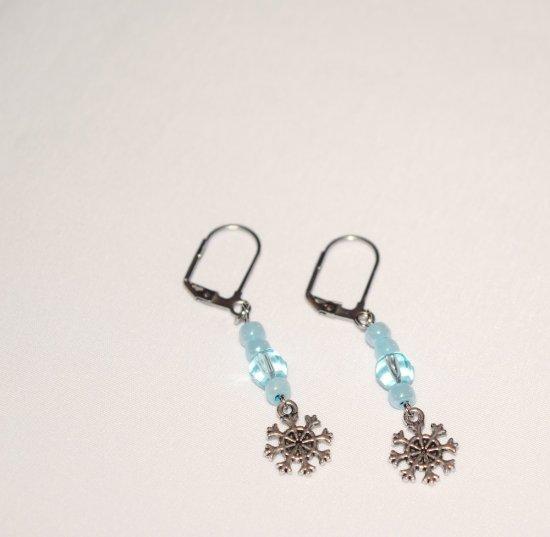 Handmade snowflake earrings, pale blue crystal and beads, snowflake charm