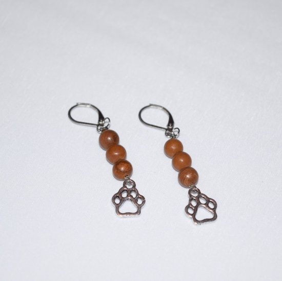 Handmade brown papwprint earrings, brown tigerskin jasper beads, pawprint charm