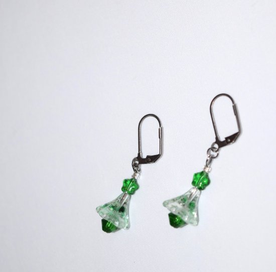 Handmade green earrings, green Swarovski crystal and star beads, clear and green flower cone bead