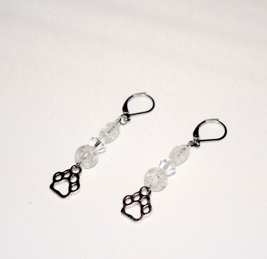 Handmade pawprint earrings, Czech faceted crystal bicone, crackle glass beads, pawprint charm