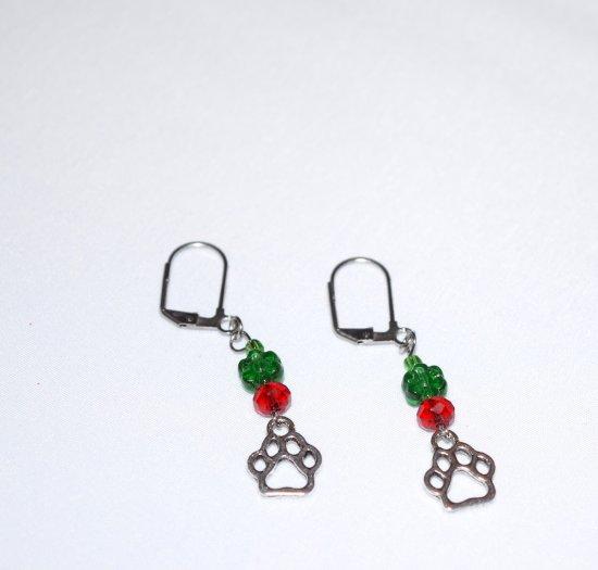 Handmade pawprint earrings, green glass flower, red crystal, papwprint charm