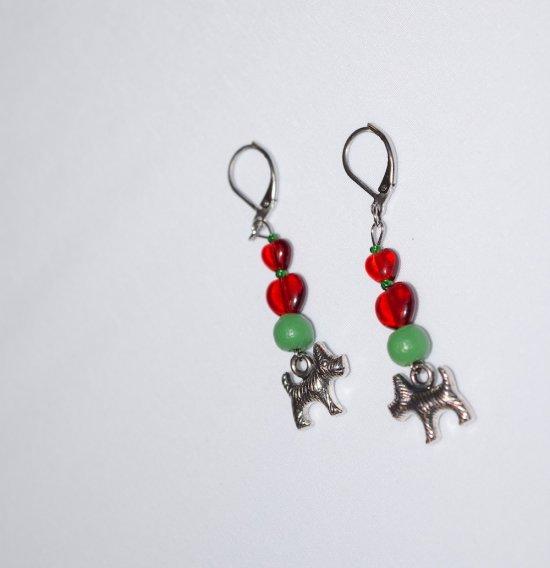 Handmade dog earrings, red glass heart and green wood beads, dog charm