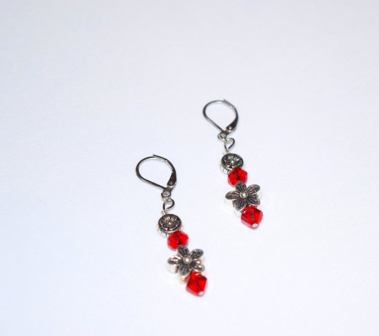 Handmade red flower earrings, red faceted crystals, antiqued silver flower beads