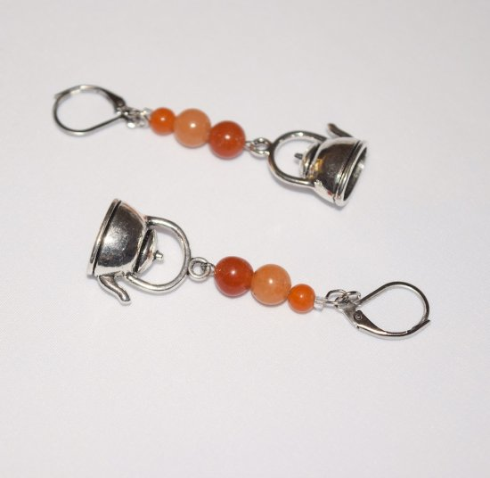 Handmade teapot earrings, red aventurine beads, teapot charm