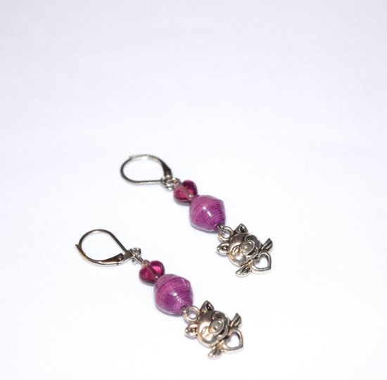 Handmade purple pig earrings, purple glass heart and paper beads, winged pig with heart charm