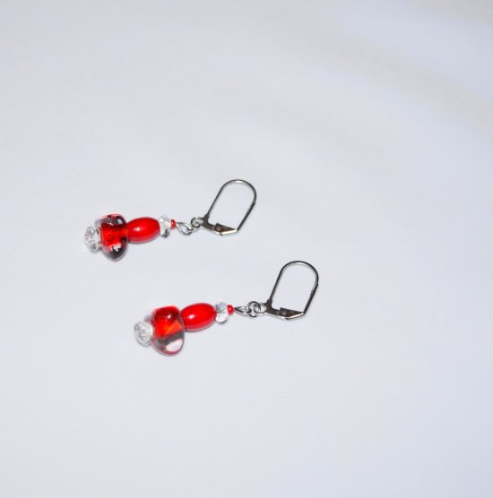 Handmade red earrings, vintage red wood, clear and red lined clear beads