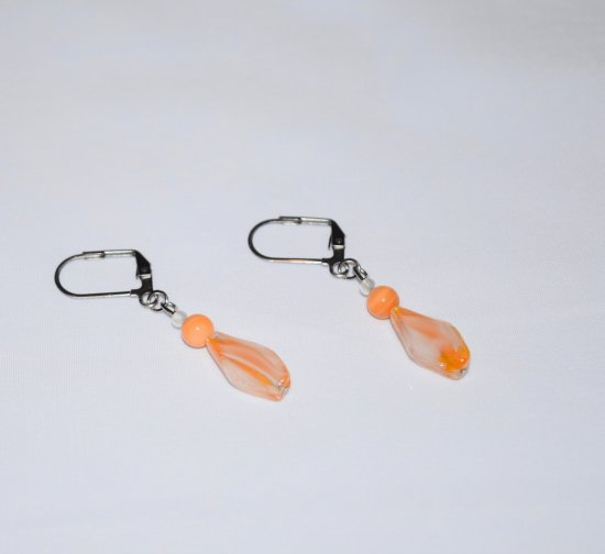 Handmade orange and white earrings, orange mother of pearl and white and orange glasss beads