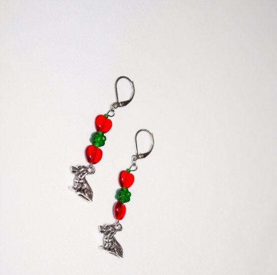 Handmade dog earrings, red glass hearts, green glass flower, dog charm