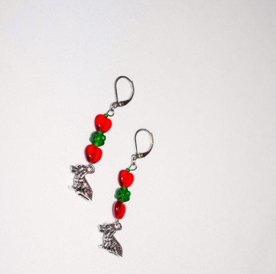 Handmade dog earrings, red glass hearts, green glass flower, dog charm