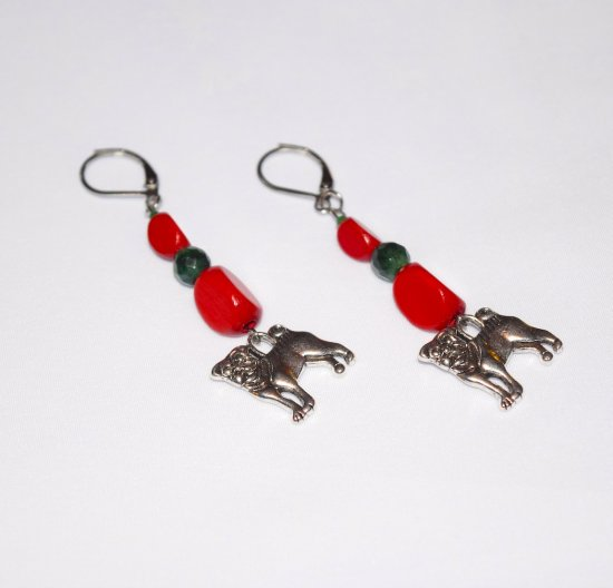 Handmade dog earrings, red wood and hai jade beads, dog charm
