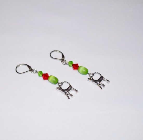 Handmade cat earrings, green cat