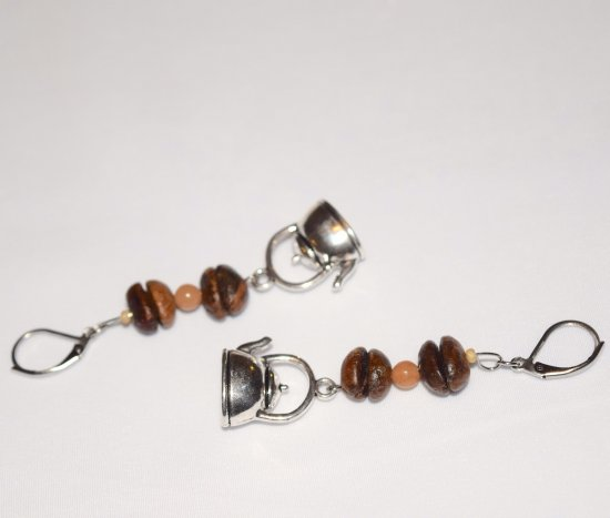 Handmade coffee earrings, coffee bean and aventurine beads,teapot charm