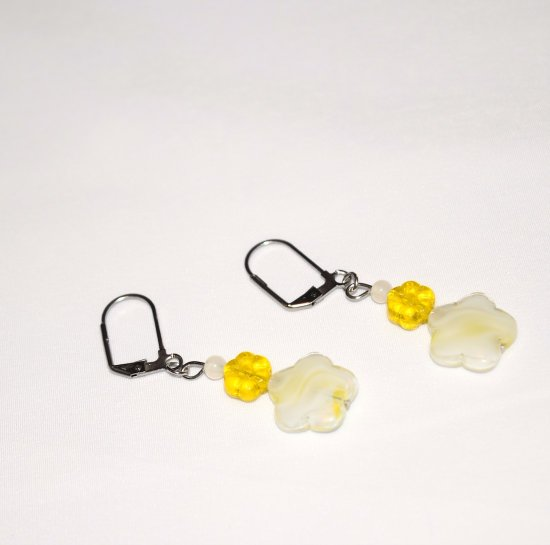 Handmade yellow flower earrings, yellow pressed glass flower, white flower and seed beads