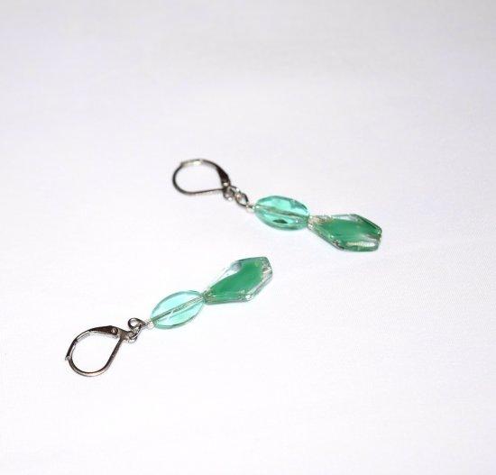 Handmade green earrings, jade green glass beads