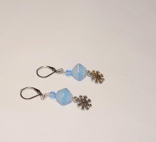 Handmade snowflake earrings, pale blue paper and crystal beads, snowflake charm