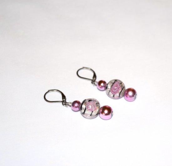 Handmade fuchsia flower earrings, fuchsia glass beads,  silver lined and painted fuchsia flower bead