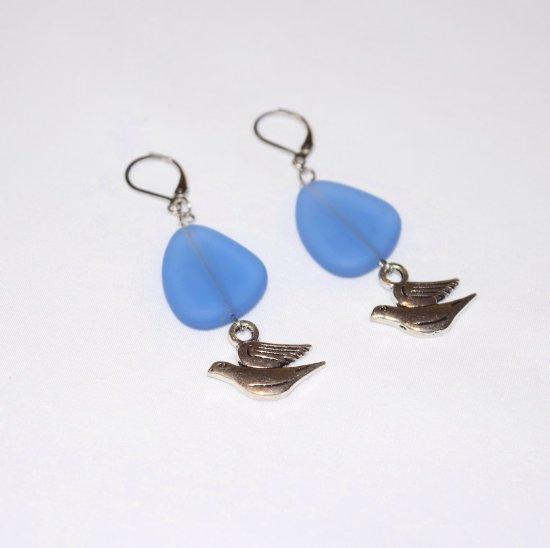 Handmade dove earrings, blue sea glass triangle, dove charm