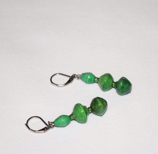 Handmade green earrings, green rolled paper beads, green rainbow seed beads
