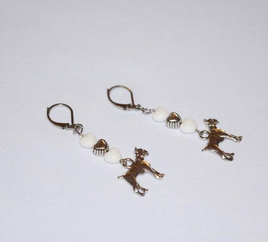 Handmade boxer earrings, white hearts, silver heart, boxer dog charm