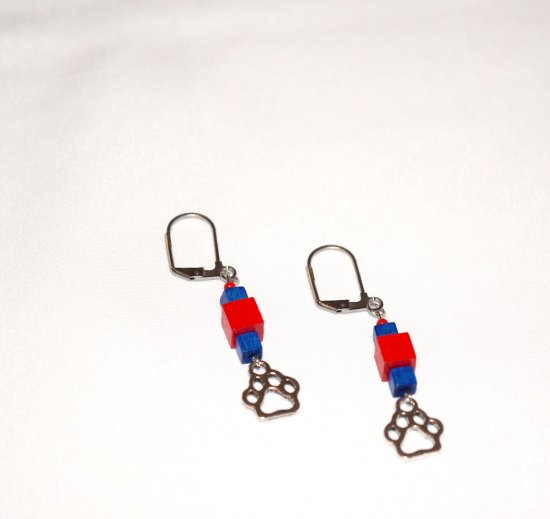 Handmade pawprint earrings, red and blue wood cubes, red seed bead, papwprint charm