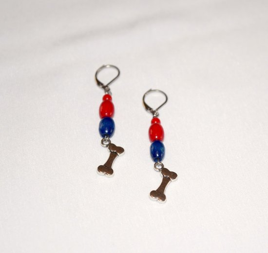 Handmade dog bone earrings, red and blue wood ovals, red glass bead, dog bone charm