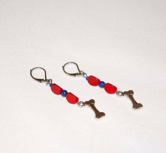 Handmade dog bone earrings, red wood triangles, blue resin beads, dog bone charm