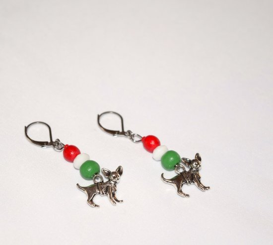 Handmade chihuahua earrings, red and green wood beads, white rondelle, chihuahua dog charm