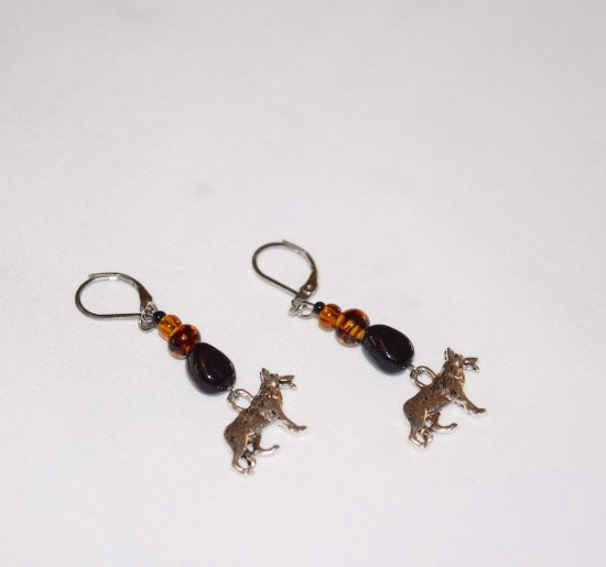 Handmade GSD earrings, tortoise shell  and amber glass beads, black glass teardrop, German Shepherd Dog charm