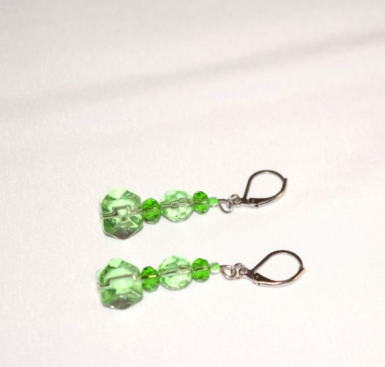Handmade green earrings, sparkling translucent faceted green crystals