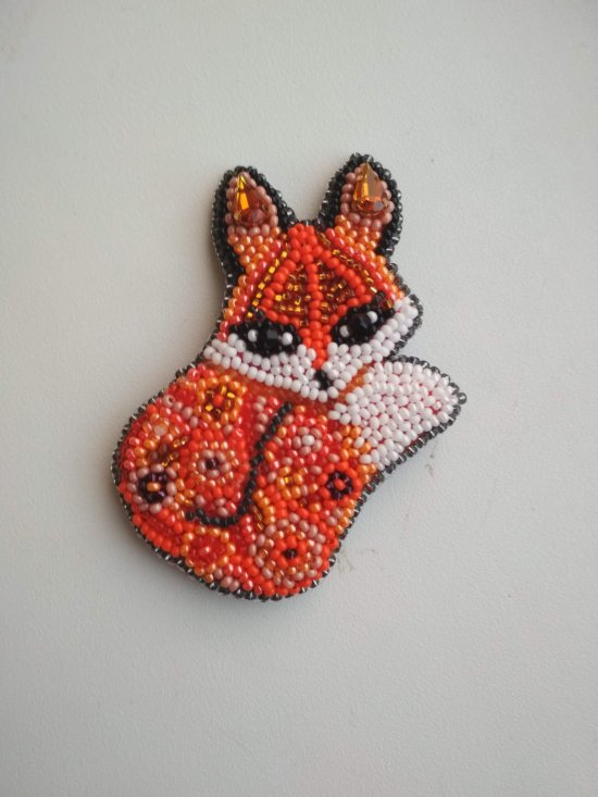 Seed beaded brooch Fox brooch Fox pin Fox jewelry Animal brooch Fox gift For her Fox badge Animal Jewelry Animal Lover N